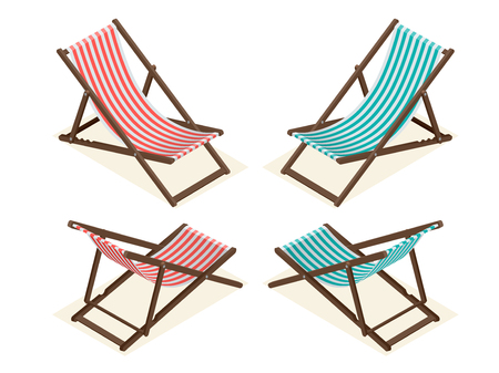 longue: Beach chairs isolated on white background. Wooden beach chaise longue Flat 3d isometric vector illustration
