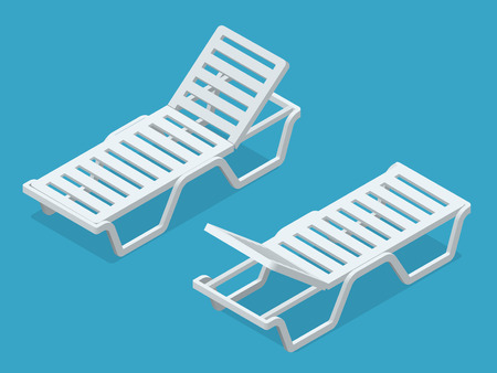 longue: Beach chairs isolated on white background. Plastic beach chaise longue Flat 3d isometric illustration