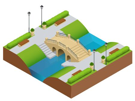 garden pond: Stone bridge over river. Romantic bridge stone in park. Flat vector landscape with a picture of the nature. Place for rest and walks. Flat 3d vector isometric illustration