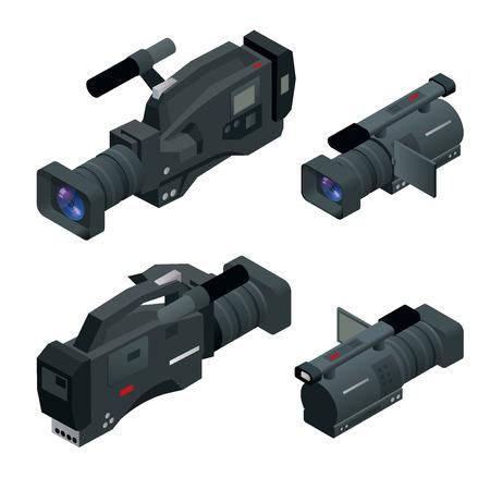 Professional digital video camera set. Film lens. Flat 3d isometric illustration