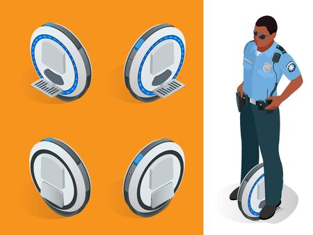 fixing: Police officer on One-wheeled Self-balancing electric scooter vector isometric illustrations. Intelligent and fashionable personal transportation tool with interactive function.