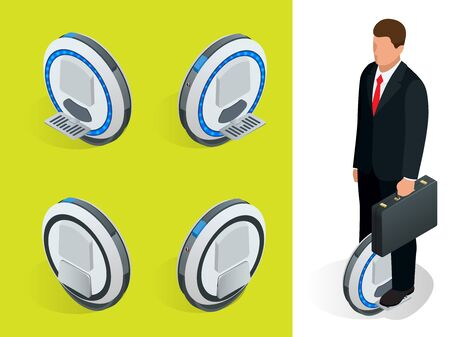 underneath: bussiness man on One-wheeled Self-balancing electric scooter vector isometric illustrations. Intelligent and fashionable personal transportation tool with interactive function.