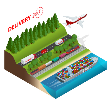 Logistics network.  Air cargo trucking, rail transportation, maritime shipping, cargo trucs. Ontime delivery. Vehicles designed to carry large numbers cargo. Flat 3d isometric vector illustration