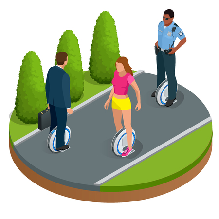 concise: People on One-wheeled Self-balancing electric scooter vector isometric illustrations. Intelligent and fashionable personal transportation tool with interactive function. Concise, fashionable design Illustration