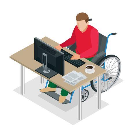 컴퓨터에서 작동하는 사무실에서 휠체어에 장애인 된 사람. 평면 3D 아이소 메트릭 벡터 일러스트