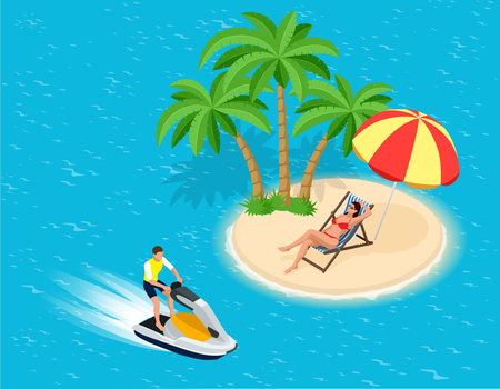 water skiing: Young Man on Jet Ski, Tropical Ocean. Creative vacation concept. Water Sports.  Fun in the ocean, Extreme Sport, water skiing  flat 3d vector isometric illustration