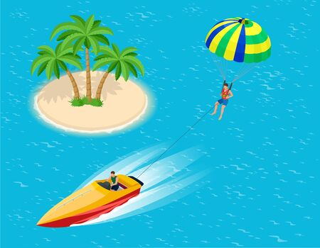 motor boat: Man parasailing with parachute behind the motor boat. Creative vacation concept. Water Sports. Parachute sailing, Fun in the ocean, Extreme Sport on beach. Flat 3d vector isometric illustration