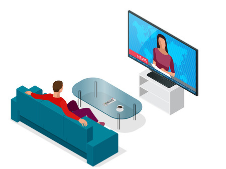 Young man seated on the couch watching tv, changing channels. Flat 3d vector isometric illustration Stock Illustratie