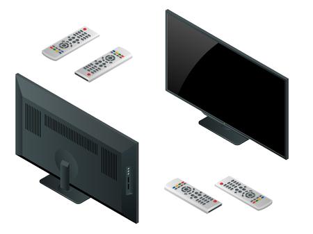 TV flat screen lcd, plasma realistic vector illustration, tv mock up. Black HD monitor mockup. Modern video panel black screen mock-up Illustration