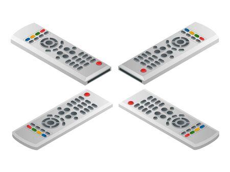 tv control remoto. Piso 3d ilustración isométrica del vector