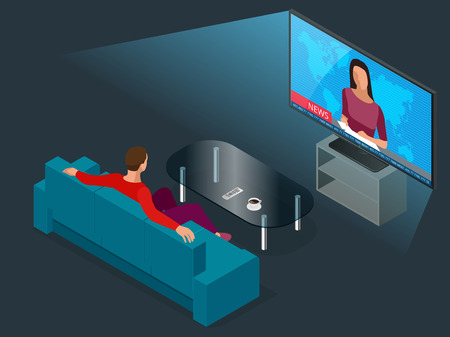 Young man seated on the couch watching tv, changing channels. Flat 3d vector isometric illustration