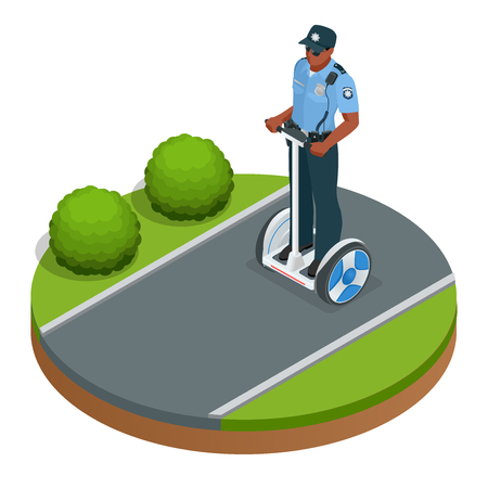underneath: Police officer on fashionable two-wheeled Self-balancing electric scooter vector isometric illustrations. Intelligent and fashionable personal transportation tool with interactive function Illustration