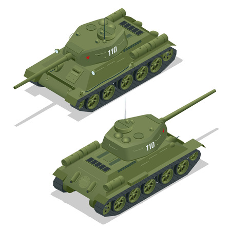 turret: Flat 3d isometric illustration of tank. Military Transportation. Military Tank. Military Tank isometric. Military Tank vector. Tank EPS