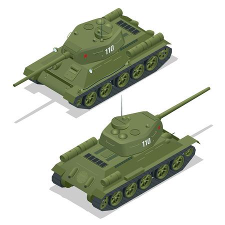 Flat 3d isometric illustration of tank. Military Transportation. Military Tank. Military Tank isometric. Military Tank vector. Tank EPS