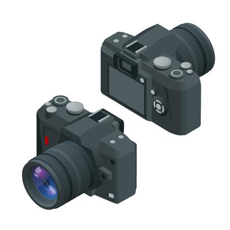 slr: Digital photo camera. SLR camera. Flat 3d vector isometric illustration of Camera. Illustration