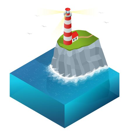 navigational: Lighthouse vector isometric illustration. Searchlight towers for maritime navigational guidance