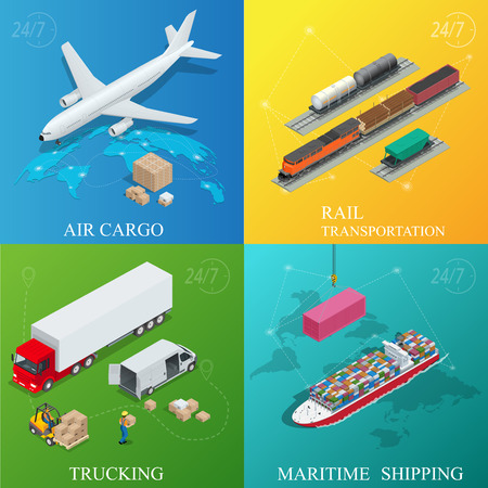 Global logistics network. Flat 3d isometric vector illustration. Set of air cargo trucking rail transportation maritime shipping. On-time delivery Vehicles designed to carry large numbers cargo