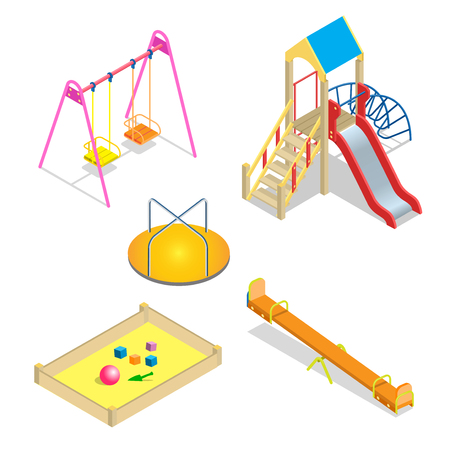 kids playground: Playground. Playground slide theme elements. Isometric kids playground icons set. Flat 3d vector isometric high quality playground icon set.