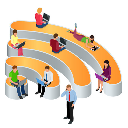 wireless connection: Public free Wifi hotspot zone wireless connection. Social Networking Communication Concept. Isometric flat 3d illustrations Illustration