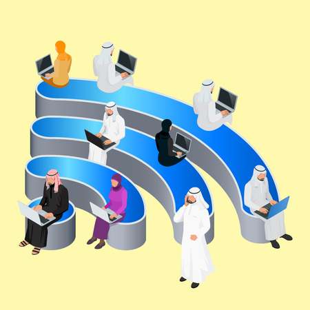 freetime: Public free Wifi hotspot zone wireless connection. Social Networking Communication Concept. Isometric flat 3d illustrations Illustration