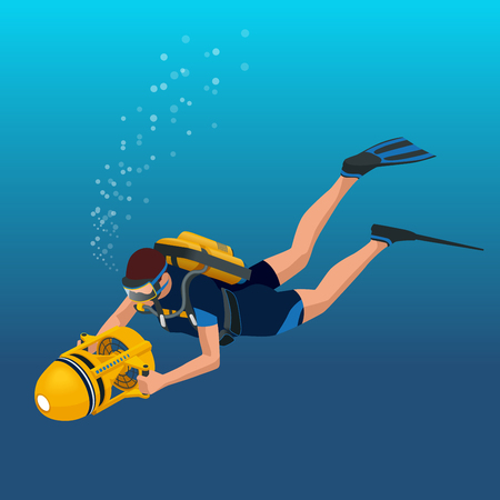 diving board: Scuba diverflat isometric illustration Underwater people diver isolated and scuba diver isolated extreme diving sport. Water sport activity vacation leisure
