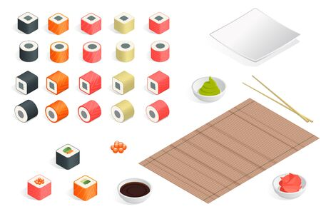 soy sauce: Great set of various different types of sushi isolated on white background. Sushi rolls flat food and japanese seafood sushi rolls. Isometric flat 3d illustration