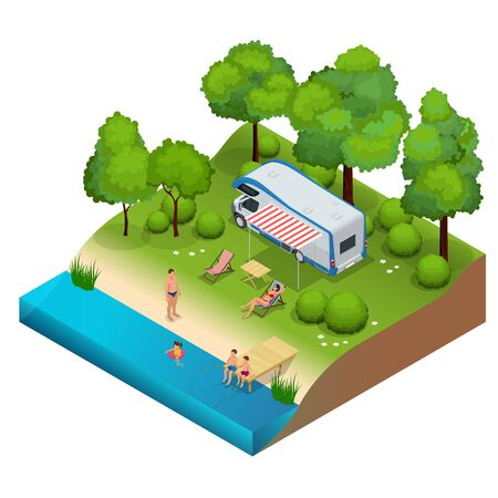 family holiday: RV camper in camping, family vacation travel, holiday trip in motorhome  Flat 3d isometric illustration Illustration