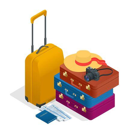 foto carnet: bolsos de viaje, pasaporte, c�mara de fotos y de pasajes. Ilustraci�n isom�trica plana 3d