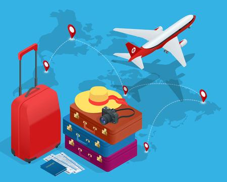foto carnet: bolsos de viaje, pasaporte, c�mara de fotos y de pasajes de avi�n y en el cielo.