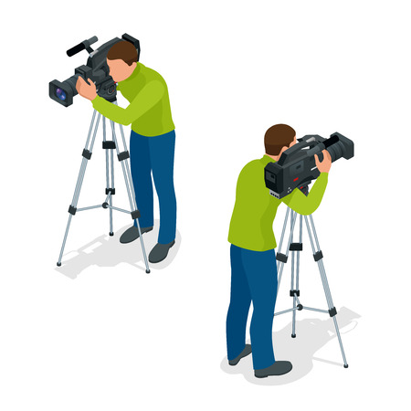videomaker: Video camera operator working with his professional equipment isolated on white background. Flat 3d isometric illustration