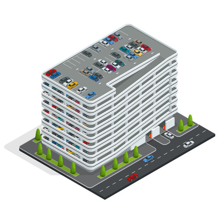 valet: Multi-story car park. Isometric city car park. Urban car parking service. Isometric flat 3d illustration