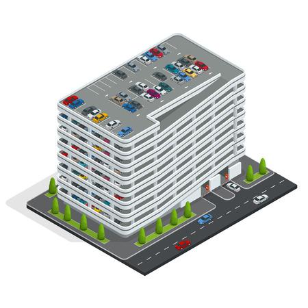 Varios pisos aparcamiento. aparcamiento de la ciudad isométrica. Urban servicio de aparcamiento. Ilustración isométrica plana 3d