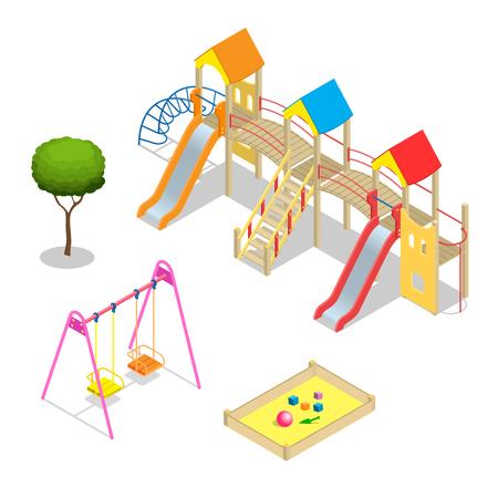 kids toy: Playground. Playground slide theme elements. Isometric kids playground icons set. Flat 3d isometric high quality playground icon set. Illustration