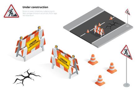 建設道路看板の下で、道路の修理、修理、メンテナンス、舗装の建設は、道路閉鎖に対してオレンジ色のライトと記号です。平らな 3 d 等角投影図