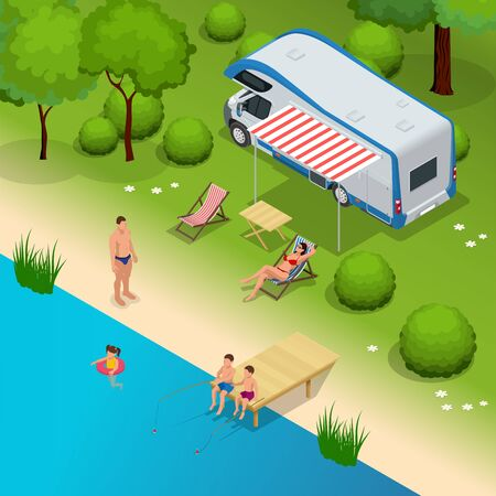 RV camper in camping, family vacation travel, holiday trip Vetores