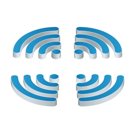 hotspot: Wifi isometric Icon. Set of four wifi icons for business or commercial use. Flat 3d illustration. Free wifi zone. Public free Wifi hotspot zone wireless connection