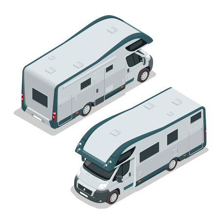 Recreational vehicles for family tourism and vacation. Flat 3d isometric illustration. Illustration