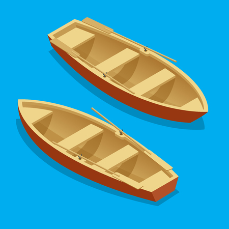 recess: Rowing boat set. Wooden boat with paddles isolated. Flat 3d isometric illustration Illustration