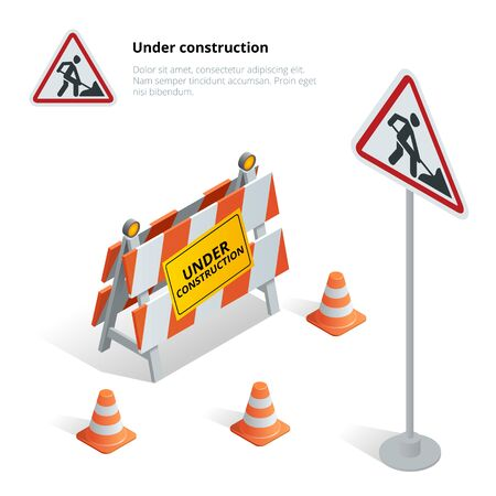 under construction road sign: Road repair, under construction road sign, Repairs, maintenance and construction of pavement, Road closed sign with orange lights against. Flat 3d isometric illustration