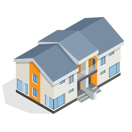 upmarket: Residential House flat 3d isometric illustration