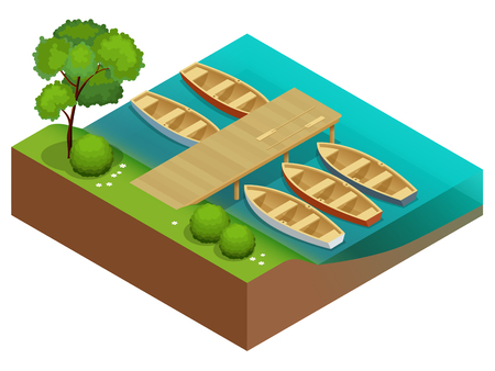pier: Wooden rowing boats on a wooden pier.  Wooden boat with paddles. Flat 3d isometric illustration