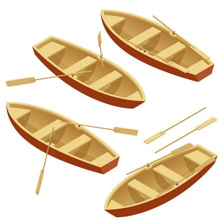 wooden boat: Rowing boat set. Wooden boat with paddles isolated over white. Flat 3d isometric illustration