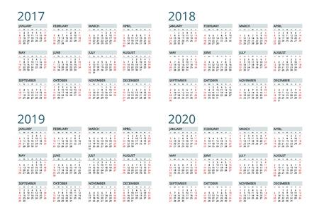 Calendar Week Starts Sunday. Vettoriali