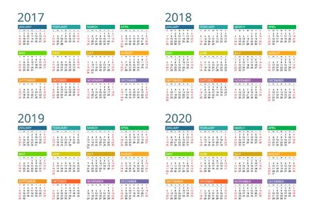 Calendar. Week Starts Sunday. Vectores