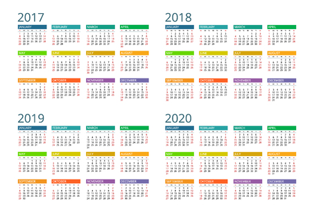 Calendar. Week Starts Sunday. Vettoriali
