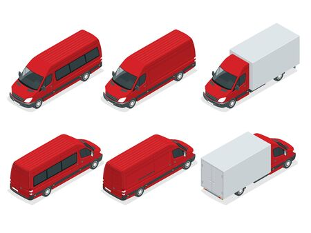 commercial vehicle: Trucks isometric transport. Commercial Vehicle. Delivery truck. Flat style illustration delivery service concept