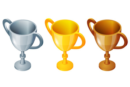 second prize: Winner cup set. Winner cup gold, silver and bronze winner cup. Prize first third and second. Winner sport cup Illustration