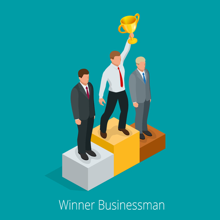 gold cup: Businessman with Winner cup. Winner concept. Businessman on first place pedestal rising hand with gold cup. Flat 3d web isometric infographic illustration