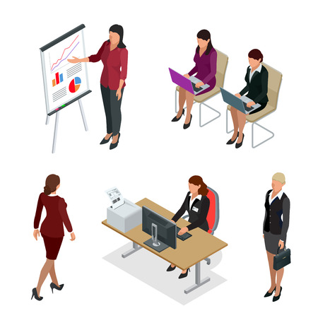 Business woman isometric set. Business woman isolated flat 3d illustration