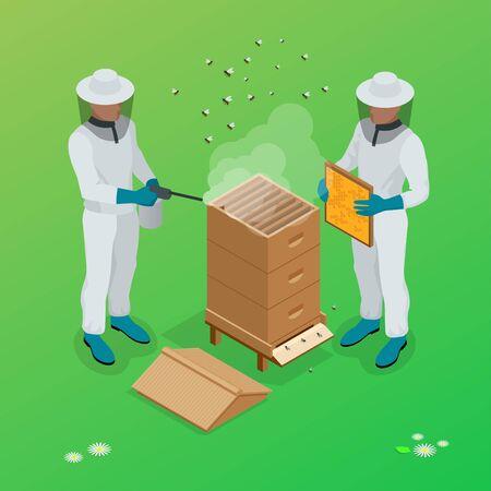 bee house: Apiary beekeeper vector illustrations. Apiary vector symbols. Bee, honey, bee house, honeycomb. Honey natural healthy food production. Man beekeeer special costume.
